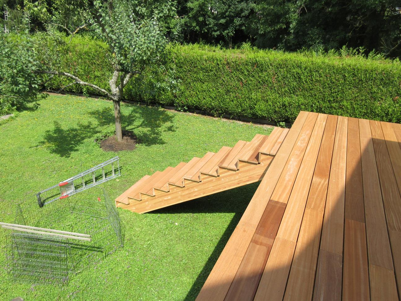 Escalier de terrasse en bois en Bankirai